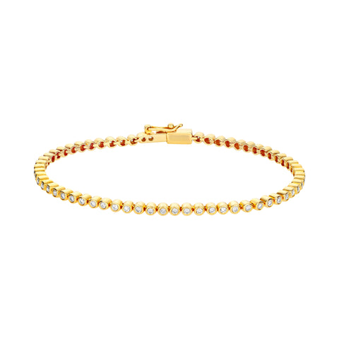 Gold Tennis Bracelet With White Diamonds