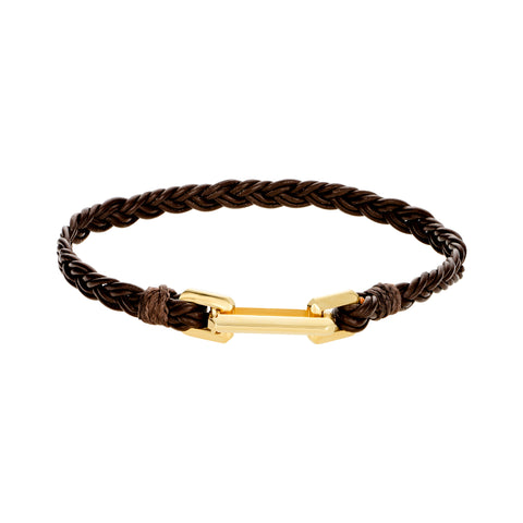 Gold Link Clasp On Braided Leather Bracelet