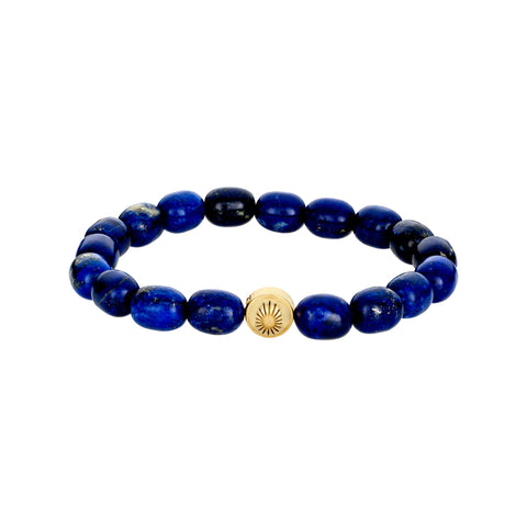 Gold Sun Symbol On Gemstone Beaded Bracelet