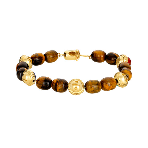 Five Gold Symbols With Cabochon Gemstones Bracelet