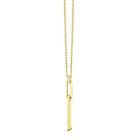 Gold Triple Link Pendant Necklace