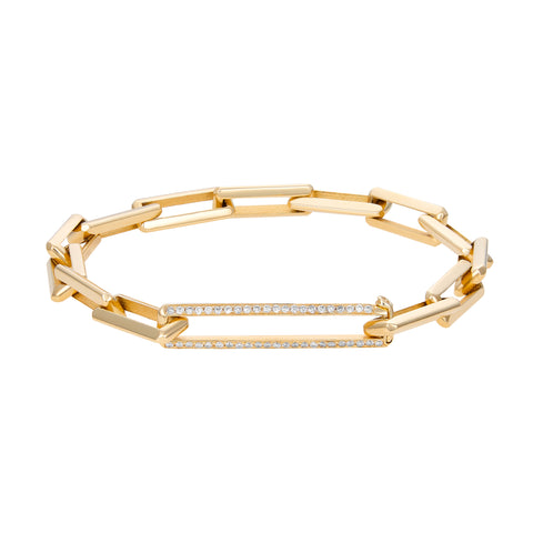 Gold Link Bracelet With Large Diamond Clasp