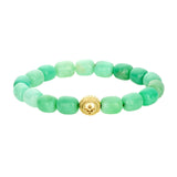 Gold Cross Symbol With Onyx Cabochon On Chrysoprase Beaded Bracelet