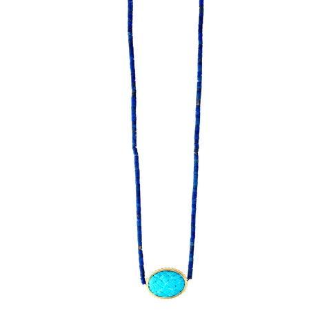 Gold Stargate Symbol With Turquoise Cabochon Necklace