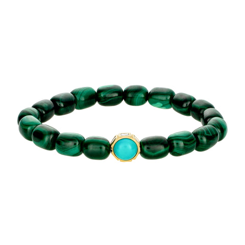 Diamond Baguettes And Turquoise Cabochon On Malachite Gemstone Beaded Bracelet