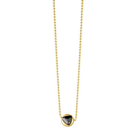 Gold Ball With Black Diamond Necklace
