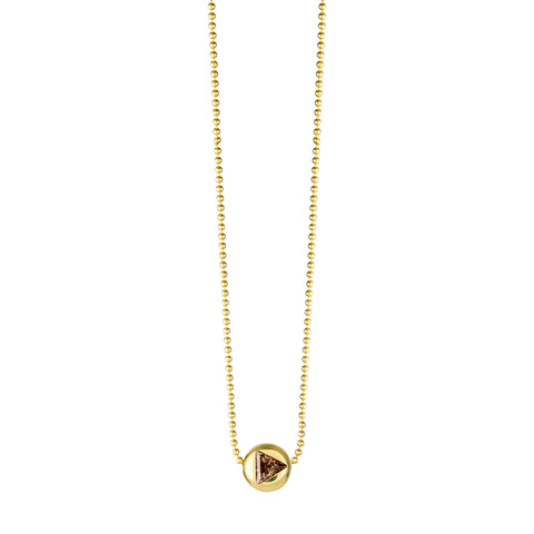 Gold Ball With Champagne Diamond Necklace
