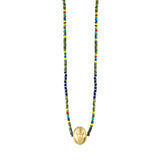 Gold Air/Earth Symbol With Labradorite Cabochon On Beaded Necklace