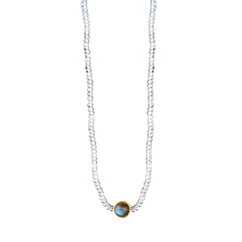 Gold Seeing Eye Symbol With Labradorite Cabochon On Moonstone Beaded Necklace