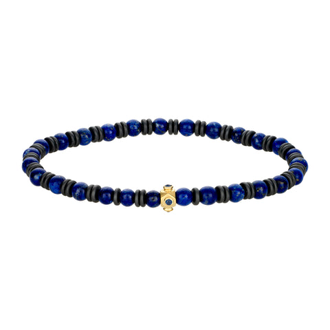 Gold Tetra Bead With Sapphire Cab Bezeled Bracelet