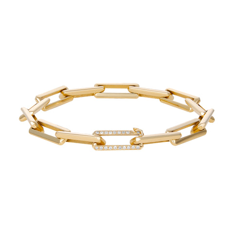 Gold Link Bracelet With Small Diamond Clasp