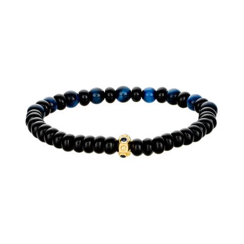 Gold Eye Octagon With Sapphire Cab Bezeled Bracelet