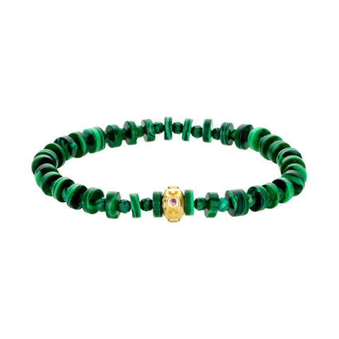 Gold Cross Octagon With Pink Sapphires On Malachite Beaded Bracelet