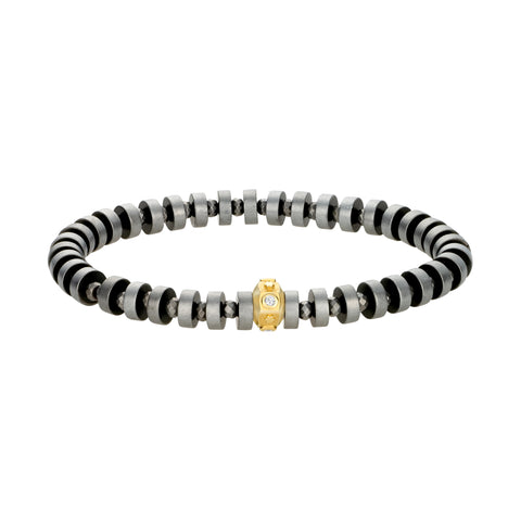 Gold Star Octagon With Diamonds On Hematite Beaded Bracelet