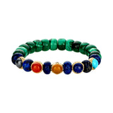 Four Elements With Atlantis Symbol And Cabochon Gemstone Bracelet