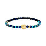 Gold Balance Symbol With Chrysoprase Cabochon On Turquoise And Lapis Beaded Bracelet