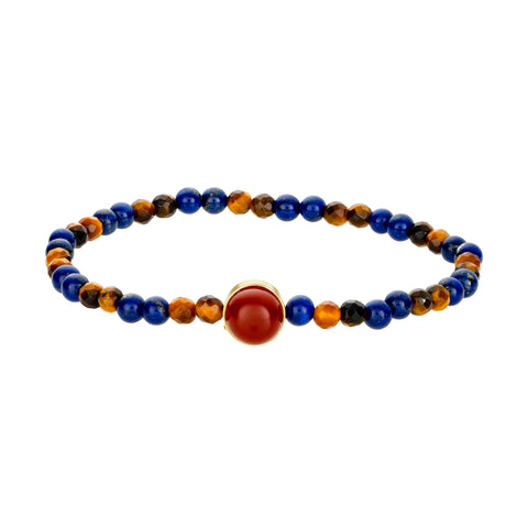 Gold Fire/Water Symbol With Carnelian Cabochon Bracelet