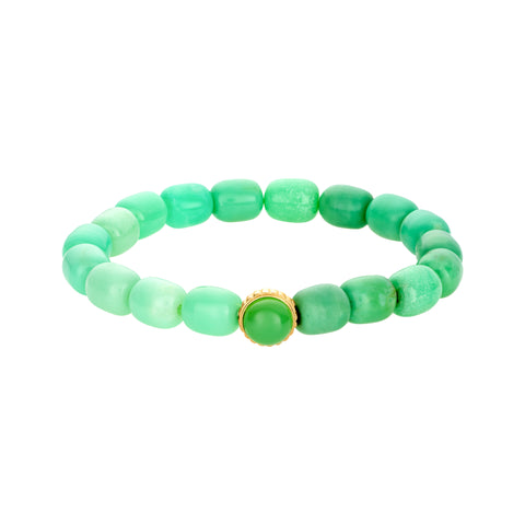Gold Stargate Symbol With Cabochon Gemstone On Chrysoprase Beaded Bracelet