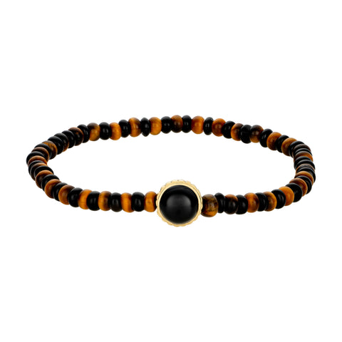 Gold Sun Symbol With Onyx Cabochon Gemstone Bracelet