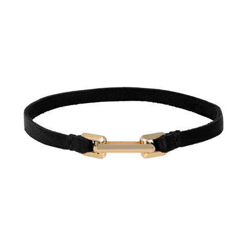 Gold Link Clasp On Leather Bracelet