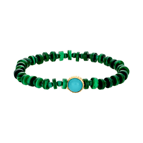 Gold Atlantis Trident Symbol With Turquoise Cabochon On Malachite Beads
