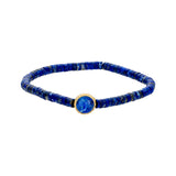 Gold Cross Symbol With Lapis Cabochon On Lapis Beaded Bracelet