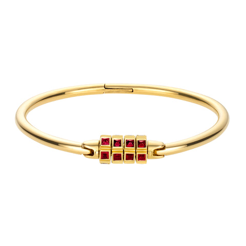 Gold Lock Bracelet With Rubies