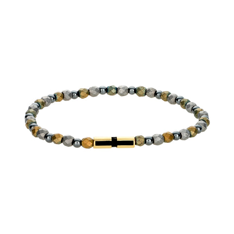 Gold Barrel With Enameled Cross On Gemstone Beaded Bracelet
