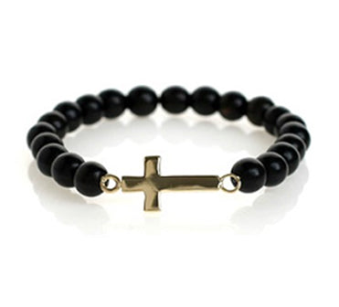 MEDIUM CROSS BEADED BRACELET