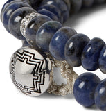 DOUBLE WRAP MANTRA WITH SAPPHIRES AND DIAMOND ROUNDEL BRACELET