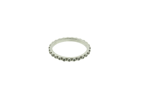 SMALL CELL WHITE GOLD RING WITH DIAMONDS