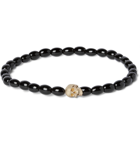 G6 SKULL WITH MOVING JAW BEADED BRACELET