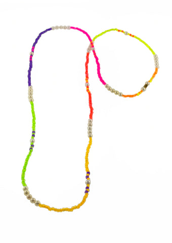 Height of Summer Neon and Pearl Spacer Necklace