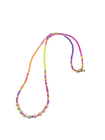 Height of Summer Neon and Pearl Skull Outline Necklace
