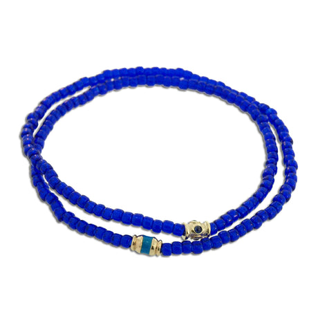 DOUBLE WRAP ENAMELED AND SAPPHIRE BRACELET