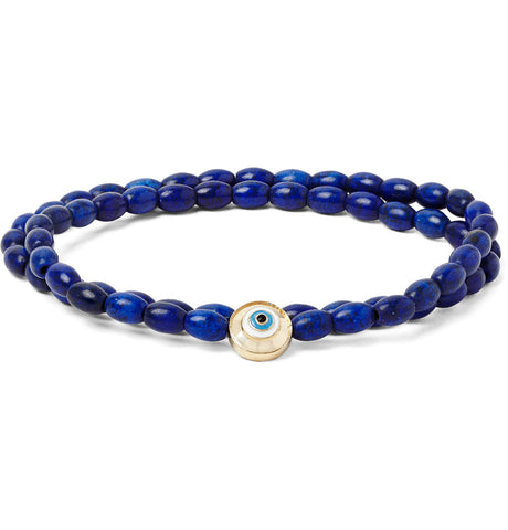 EVIL EYE WITH ENAMEL DOUBLE WRAP MANTRA AMULET BRACELET