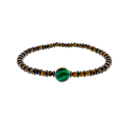 Gold Cross Symbol with Malachite Cabochon on Tiger's Eye and Hematite Beaded Bracelet