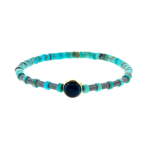 Gold Seeing Eye Symbol with Blue Tiger's Eye Cabochon on Turquoise and Hematite Beaded Bracelet