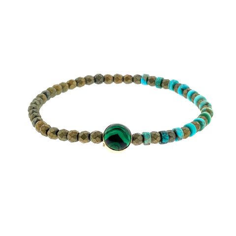 Gold Stargate Symbol With Malachite Cabochon on Turquoise and Hematite Beaded Bracelet