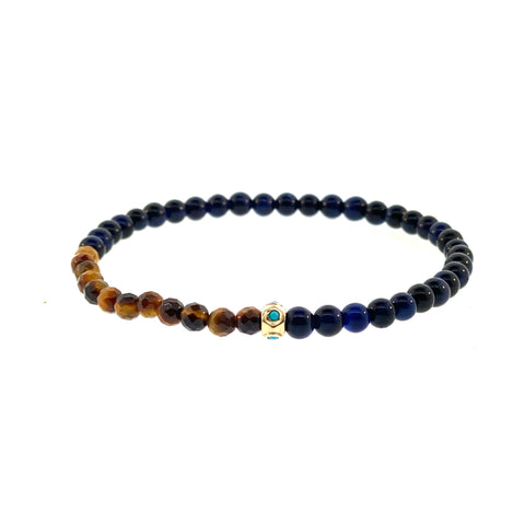 Gold Tetra Bead With Turquoise On Tiger's Eye Beaded Bracelet