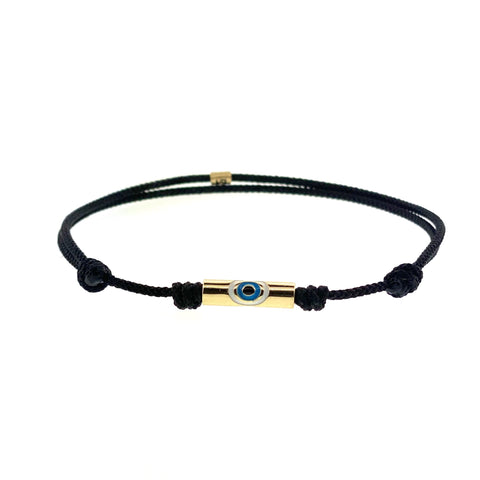 Gold Enameled Large Evil Eye On A Cord Bracelet