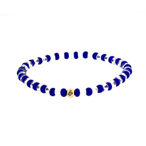 Gold Ball With Diamond Trillion Stone On Beaded Bracelet