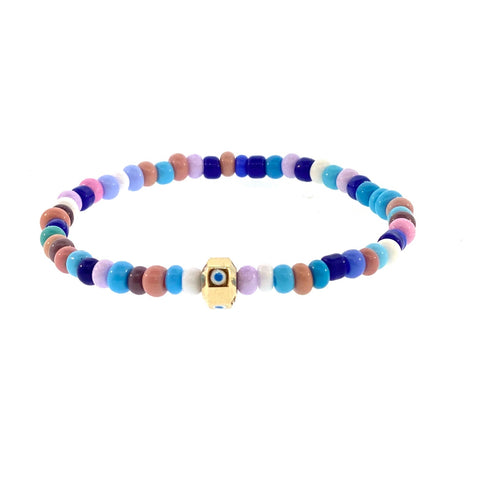 GOLD ENAMELED EVIL EYE OCTAGON ON MULTI COLOR BEADED BRACELET