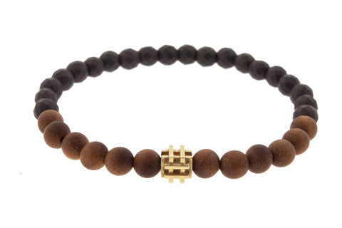 Gold Puzzle Bead On Hematite And Sandalwood Beaded Bracelet