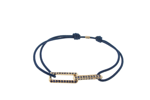 Yellow Gold Link Bracelet With Sapphires On A Cord