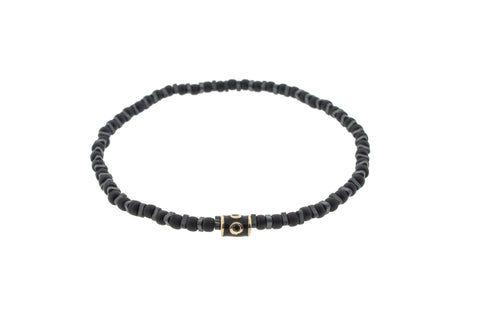 Gold Enameled Barrel With Black Diamonds Beaded Bracelet