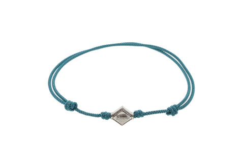 Gold Scarab Lozenge On Blue Cord Bracelet