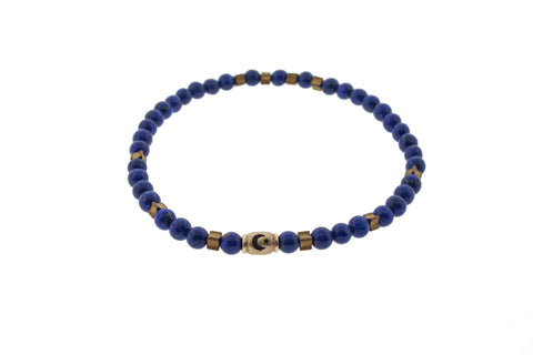 Yellow Gold Moonstar Barrel Blue and Gold Beaded Bracelet