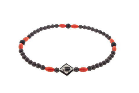 White Gold Scarab Lozenge On Gemstone Beaded Bracelet