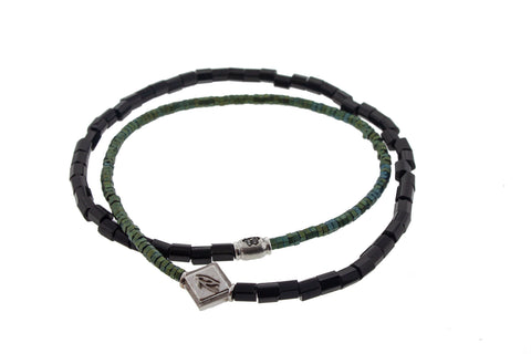 Eye Of Horus With Flower Barrel On Double Wrap Beaded Bracelet